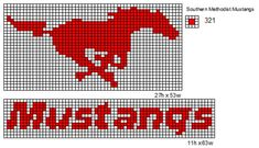 Southern Methodist Mustangs logo and name plate Southern Methodist Mustangs Perler Bead Templates, Perler Patterns, Loom Patterns, Cross Stitch Patterns, Ford Mustang, Mustang Logo, Beading Tools, Loom Beading, Plastic Canvas Crafts