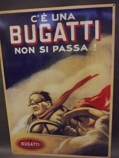 "A large metal advertising sign 'Bugatti Cars', 20"" x : Lot 143"