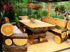 Log furniture set for patio or gardens, blends in with nature.