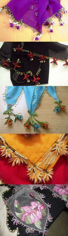 This Pin was discovered by ayş Crochet Fabric, Bead Crochet, Crochet Scarves, Crochet Lace, Embroidery Needles, Beaded Embroidery, Embroidery Patterns, Knitting Patterns, Seed Bead Flowers