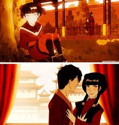 Avatar the Last Airbender: Mai blushing because of Zuko :) <----Hey, she finally got her man!