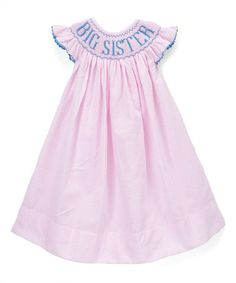 Another great find on #zulily! Pink 'Big Sister' Smocked Bishop Dress - Infant & Toddler #zulilyfinds