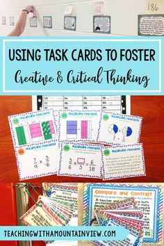 I absolutely love task cards. They are a great teaching tool for differentiation and can challenge students of all levels and abilities. Read about how I use them in upper elementary to help my students become creative and critical thinkers. Elementary Science, Elementary Teacher, Elementary Education, Upper Elementary, Free Your Mind, Critical Thinking, Thinking Skills, Teaching Tools, Teaching Ideas