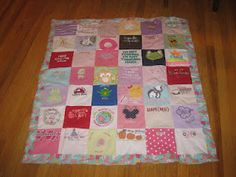 Onesie Quilt! Made from special 1st year onesies! Maybe THIS is what we should've done!! @Kim Kilmer