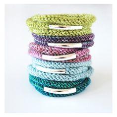 Silver triple wrap knit bracelet