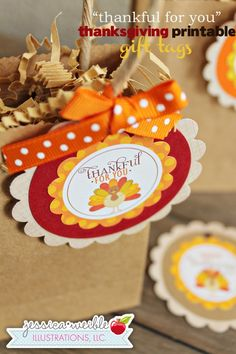 Thankful for You Tags - JW Illustrations - Printable Thanksgiving Gift Tags