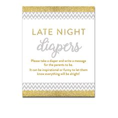 Baby Shower Gray Chevron Gold Glitter - Activity Late Night Diapers - Instant Download Printable