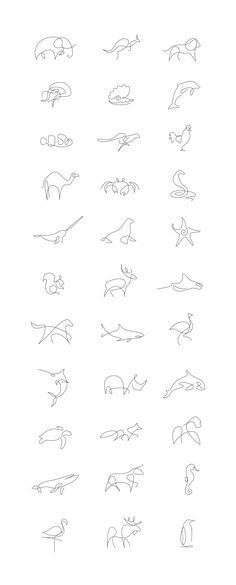 Tiny Tattoo Idea - Minimalist One Line Animals By A French Artist Duo - Art - Tattoo Designs For Women