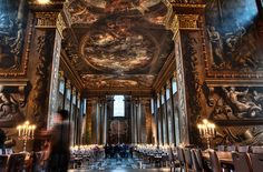 Painted Hall, Old Royal Naval College, Greenwich, England. I carried out some very complicated colour measurements here and produced the dado colour to match the 'average' colour of the Thornhill painting - http://patrickbaty.co.uk/?p=1544