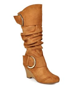 Love this Journee Collection Chestnut Irene Wide-Calf Wedge Boot by Journee Collection on #zulily! #zulilyfinds