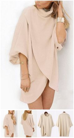 Khaki Fashion High Neck Irregular Hem Jumper US$17.95