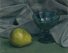 """""""The Blue Glass,"""" Luigi Lucioni, 1950, oil on canvas, 8-1/4 x 10"""", private collection."""