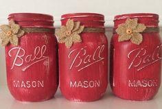 Chalk Painted Mason Jars. Set of 3 pint size by JenmarksCraftyShop