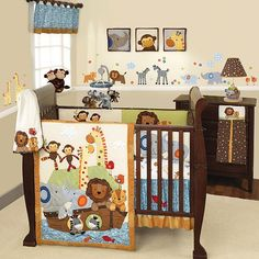 Noah's ark nursery! This is what I will have for my babies <3 cute animals and a Bible story all in one :)