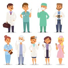 Different Doctors Characters Vector Set by Vectorssstocker Group of doctors and nurses and medical staff people. Medical team doctors specialists concept in flat design people characters. People Illustration, Medical Illustration, Flat Illustration, Character Illustration, Portrait Illustration, Illustrations, Flat Design, Medical Design, Medical Art