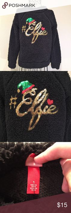 "#Elfie Sequined Fuzzy Christmas Sweatshirt #Elfie Sequined Fuzzy Christmas Sweatshirt Black Fuzzy Sweatshirt with #Elfie in Sequined Cursive with Elf Hat Target Holiday Brand Size Small All measurements are approximate Bust: 19"" Shoulders: 20"" Length: 24"" a bit longer in back  Sleeves: 25""  Excellent Used Condition Smoke Free Home Target Holiday Collection Tops Sweatshirts & Hoodies"