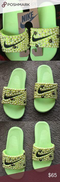 #Blue #Customized #NikeSlides Find and like us on Instagram  @sprinkle_myfeet | Bedazzled Nike Slides | Pinterest