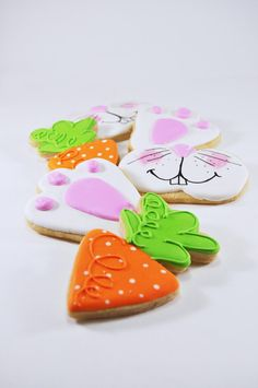 Easter Bunny - chubby carrots - Easter Cookies - cute sugar cookies - rabbit - bunny nose - carrot cookies - bunny paw - hoppy easter gift