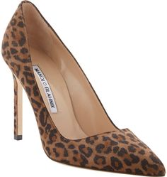 Brown Leopard Suede Pumps by Manolo Blahnik. Buy for $595 from Barneys New York