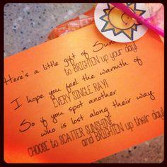 YW secret sister gift!  Scatter sunshine :)