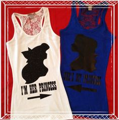 Same Sex Princess Half Lace Back Couples Tank Top by MyProudLove, $45.00: