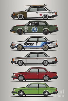 Stack Of Volvo 242 240 Series Brick Coupes Digital Art by Monkey Crisis On Mars