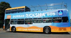 Hop aboard the Ricksha Bus for a scenic overview of a range of Durban's major attractions. There are two Ricksha Bus city tours a day, seven days a week. Bus City, South Africa, Places To Go, Tours, Resolutions, Range, Cookers