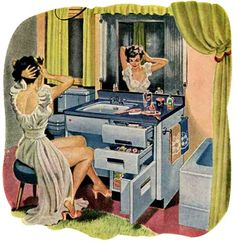 Vanity…Powder Bar…Lavatory - All in One, 1950s
