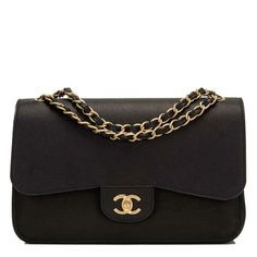 a5dfcc85c5ed Chanel black Jumbo Classic double flap bag of caviar leather with gold tone  hardware new or never worn condition. Shop Chanel handbags at Madison  Avenue ...