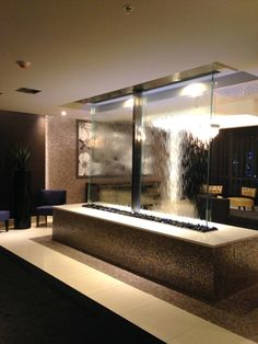 Indoor and outdoor large scale water fountains walls Indoor water fountains Indoor Waterfall Fountain, Water Wall Fountain, Indoor Wall Fountains, Water Fountain Design, Glass Waterfall, Diy Garden Fountains, Indoor Fountain, Water Fountains, Outdoor Fountains