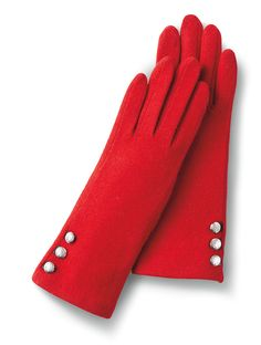 Bright red gloves are a gorgeous pop of color to wear with a black coat - on Valentine's Day or any day! via @stylelist | http://aol.it/1x1mRIv