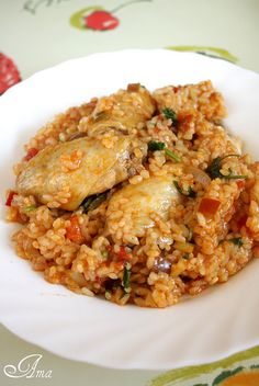 Pilaf cu pui Fried Rice, Fries, Chicken, Ethnic Recipes, Food, Essen, Meals, Nasi Goreng, Yemek