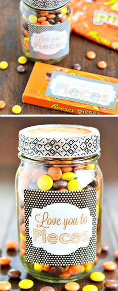 Love You To Pieces Sweet Jar | Click Pic for 22 DIY Valentine Gifts in a Jar for Men | DIY Valentine Gifts for Friends