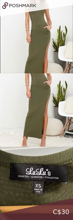 Lulus - Olive Green Sleeveless Maxi Dress Worn only a couple times. Soft and stretchy jersey knit shapes a fitted, sleeveless bodice that extends into a figure-flaunting maxi length skirt. Thigh-high side slit shows off some leg, while handy side seam pockets make this dress as functional as it is chic!  Fully Lined. 95% Rayon, 5% Spandex. Hand Wash Cold. Lulu's Dresses Maxi Lulu's Dresses, Formal Dresses, Thigh Highs, Olive Green, Strapless Dress Formal, Plus Fashion, Fashion Tips, Smoke Free, Note