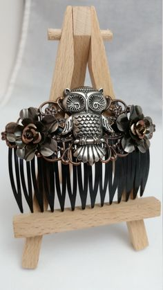 Owl Hair Accesories   Hair Comb   Rose   Flowers   Mixed Metals   Elegant Accessories   Kimreys Odd Beauty