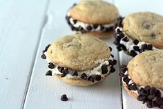 Chocolate Chip Cookie Sandwiches with Cookie Dough Buttercream. Click over for the recipe from BakingJunkie.com