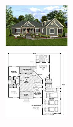 Country House Plan 92385 | Total Living Area: 1800 sq. ft., 3 bedrooms and 3 bathrooms. #countryhome