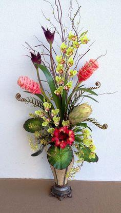 Tall arrangement Designed by Arcadia Floral Home Decor Tropical Flower Arrangements, Artificial Floral Arrangements, Silk Floral Arrangements, Tropical Flowers, Artificial Flowers, Ikebana, Faux Flowers, Silk Flowers, Gerbera