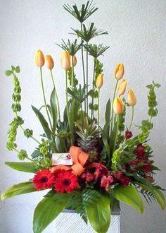 Tulipanes con follajes finos y exóticos.