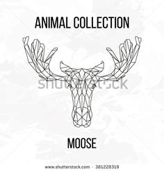 Moose head geometric lines silhouette isolated on white background vintage vector design element illustration