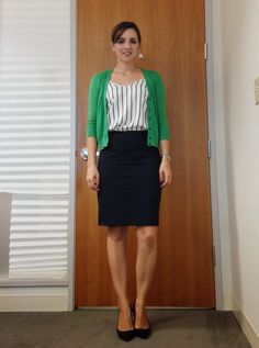 Black skirt, vertical stripe blouse, green cardigan (For work)