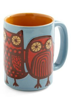 Owl Ready to Go Mug in Blue, #ModCloth Love the vintage look of this!