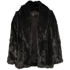 Alice + Olivia Alita faux fur coat ($330) ❤ liked on Polyvore featuring outerwear, coats, jackets, coats & jackets, takit, black, faux fur coats, oversized coat, imitation fur coats and fake fur coats
