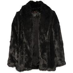 Alice + Olivia Alita faux fur coat (1,395 ILS) ❤ liked on Polyvore featuring outerwear, coats, jackets, coats & jackets, takit, black, imitation fur coats, black fake fur coat, black oversized coat and faux fur coats