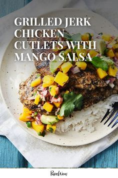 Baking chicken cutlets on repeat is easy but boring. Branch out with these grilled jerk chicken cutlets with mango salsa. The cinnamon and spicy cayenne flavors in the jerk seasoning pair magically with juicy, zesty mango. Best of all, this recipe is just as easy as your old standby. Stir Fry Recipes, Crockpot Recipes, Healthy Recipes, Skinny Chicken Recipes, Baked Chicken Cutlets, Grilled Jerk Chicken, Quick Stir Fry, Mango Salsa, Spicy