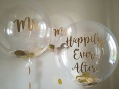 Gold and cream confetti balloons personalised with Mr & Mrs and Happily Ever After messages