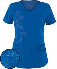 Butter-Soft Scrubs by UA™ Women's Scallop Neck Scrub Top with Embroidery $17.99 in Royal