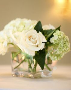 Rose and Hydrangea Centerpiece like combo but in green pink white
