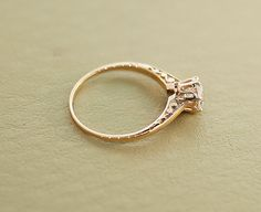 Antique Engagement Ring  Rose Gold and Diamond by SITFineJewelry, $2390.00