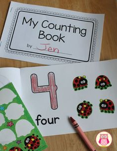 Make your own counting books. The set includes two different sizes of 1-10 number books. Practice counting or addition fact families. Customize with stickers, stamps, drawings, pictures, etc. Create a 1-10 number book or create a single number book for a number of the week activity. A great math center activity for your preschool, pre-k, kindergarten and early childhood education classroom.